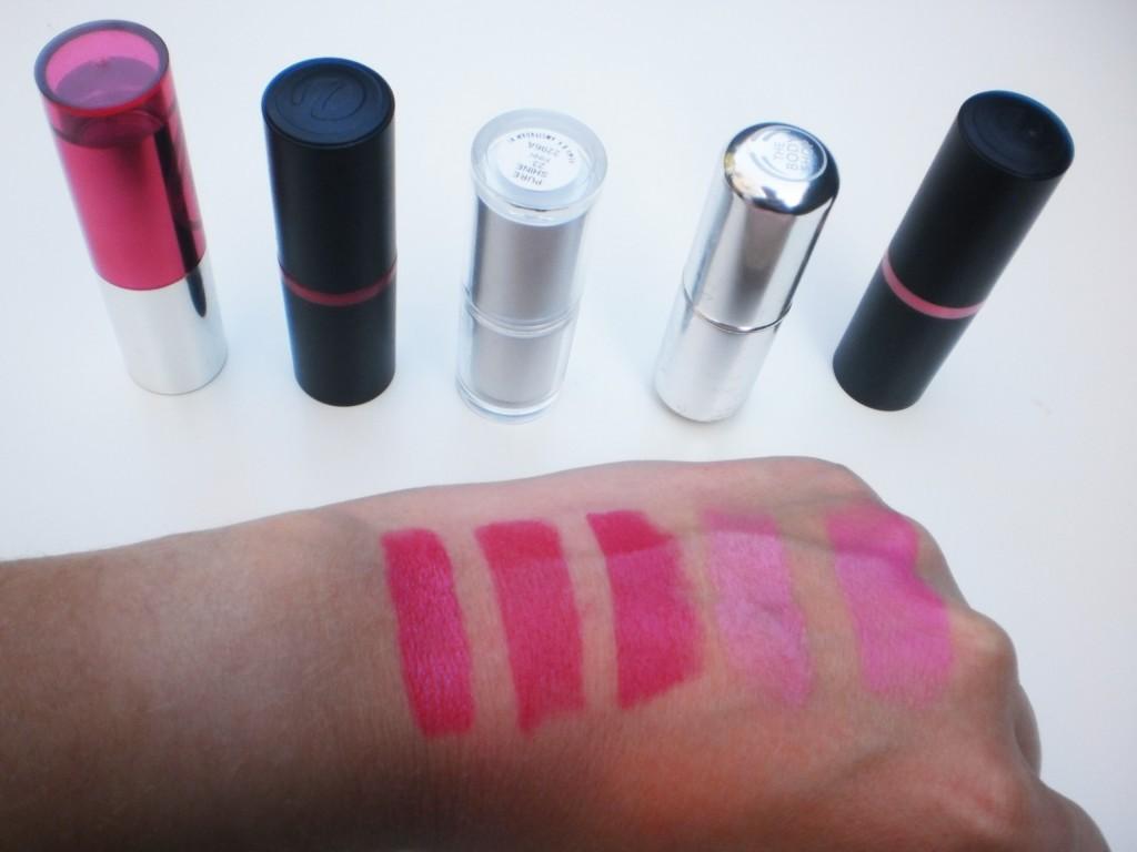 Swatches roze lipsticks